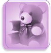 Image of teddy bear in purple box